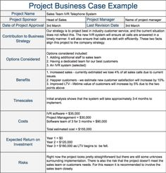 Project Business Case Example Resume Template Free Templates Management