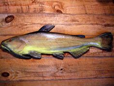 "Bullhead Catfish 28"" chainsaw wood fish decoy carving taxidermy lake fishing retreat decor rustic home wall mount detailed wooden art"