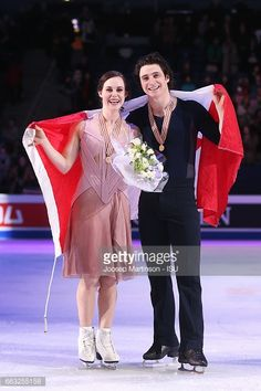 HELSINKI, FINLAND - APRIL 01: Tessa Virtue and Scott Moir of Canada pose in the Ice Dance medal ceremony during day four of the World Figure Skating Championships at Hartwall Arena on April 1, 2017 in Helsinki, Finland. (Photo by Joosep Martinson - ISU/ISU via Getty Image