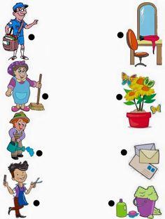 EŞLEŞTİR Toddler Learning Activities, Montessori Activities, Infant Activities, Kids Learning, Preschool Workbooks, Kindergarten Worksheets, In Kindergarten, Preschool Art, Community Helpers Worksheets