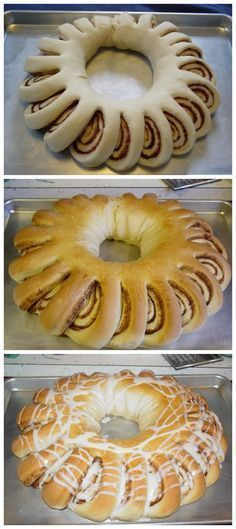 This is like a page ripped from my childhood. My mom made soemthing that looks exactly like this at Christmas & it was called a tea ring. Cinnamon Wreath Bread - my mom made these, but they were called Swedish Tea Rings Bread Recipes, Baking Recipes, Cake Recipes, Kisses Recipe, Breakfast Recipes, Dessert Recipes, Breakfast Cake, Delicious Desserts, Yummy Food