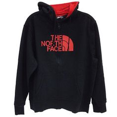 North Face Half Dome Full Zip Hoodie Mens CH2L-EMQ Black Red Logo Hoody Size M