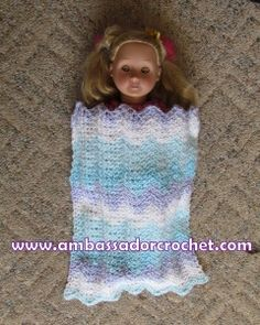 18″ Doll Blanket Free Crochet Pattern