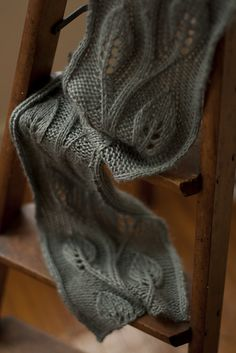 Free knitting pattern for leaf motif lace scarf. Would probably also work for a wrap or stole.