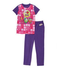 Look at this #zulilyfind! Shopkins™ Pink & Purple 'I Love SPK' Pajama Set - Girls #zulilyfinds