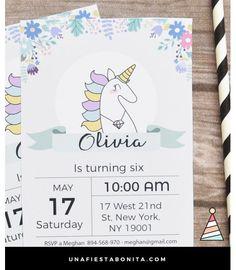 Unicornio: Invitación para imprimir