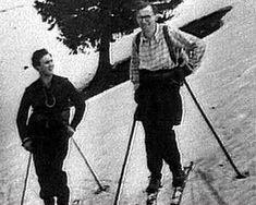 Pope John Paul II skiing in Italian alps
