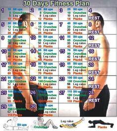 Schneller Fitness Plan in 30 Tagen für zu Hause.