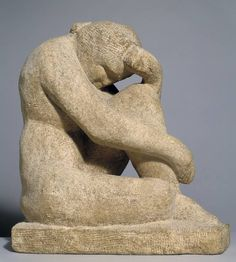Henri Gaudier-Brzeska 'Sepulchral Figure', 1913 - bath stone I ..the pose is one traditionally used for mourning figures. It might also have been dictated by the shape of the stone. The impoverished Gaudier was reliant on cheap off-cuts or gifts of material and was even said to have stolen stone from masons' yards at night.