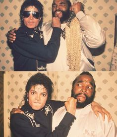 Un giovane Michael Jackson scherza con Mr.T, il B.A. Baracus dell'A-Team.  #michaeljackson #mr.t #pop #cult #tvseries #ateam #cultstories