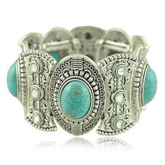 SunIfSnow Retro Silver Carved Oval Turquoise Six Rhinestone Wide Bracelet - Jewelry For Ladies Turquoise Jewelry, Turquoise Bracelet, Turquoise Cuff, Vintage Turquoise, Green Turquoise, Cheap Bracelets, Jewelry Bracelets, Bangles, Hippie Jewelry