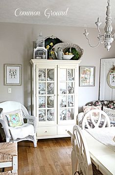 Vintage French Soul ~ Common Ground: On top of the Cupboard. Ideas for top of our old TV armoire. Top Of Cabinets, Above Cabinets, China Cabinets, Dark Cabinets, Cupboards, Cute Home Decor, Cheap Home Decor, Top Of Cabinet Decor, Decorating Above Kitchen Cabinets