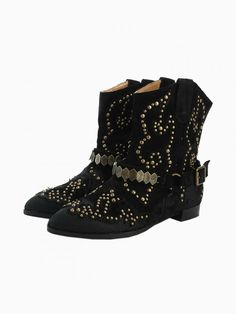 Black Distressed Stud Boots - Choies.com