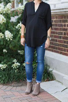 ONE little MOMMA: Felt Fedora and Black Tunic Maternity Style-minus the pregnancy obvs.