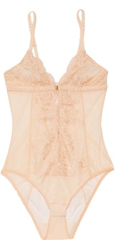 Mimi Holliday by Damaris Every Yours silk-trimmed lace bodysuit