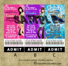 Ticket Invitations for quinceaneras, sweet sixteen... So cool and so affordable to pass out to friends   http://www.eventphotocards.com/index.php/theme-parties/tickets/dance-clubstyle-invite/p_986.html