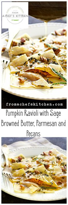 Pumpkin Ravioli with Sage Browned Butter, Parmesan and Pecans - Easy to make with wonton wrappers and leftover pumpkin puree! (Canned Pumpkin Butter) Pumpkin Recipes, Fall Recipes, Thanksgiving Recipes, Pumpkin Ravioli, Pumpkin Puree, Pumpkin Butter, Risotto Cremeux, Pasta Casera, Wonton Wrappers