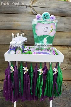 Tinkerbell Party with Lots of Really Cute Ideas via Kara's Party Ideas | Tink's Juice Bar