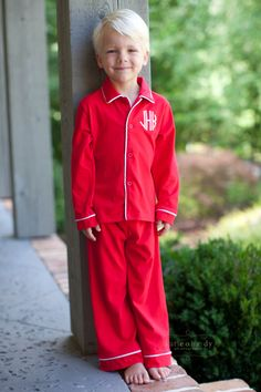 Red Knit Monogram Holiday Loungewear only $25 at www.southerntots.com!