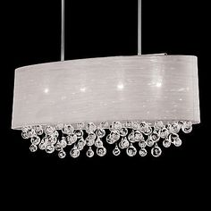 NIB 4 Lamp Oval Drum Shade Pendant With Tear Bubble Balls Chandelier L 36""