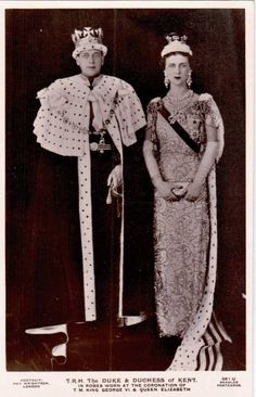The Duke Duchess of Kent in their robes coronets after the 1937 Coronation. No one knows if they felt a bit cheated as at one point it was possible that they rather than George Elizabeth could have been chosen as the next king queen. Another one of those historical might-have-beens.