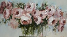 Soft Pink Roses by Acrylic Flowers, Abstract Flowers, Flower Images, Flower Art, Art For Art Sake, Online Art Gallery, Watercolor Paintings, Canvas Art, Artwork