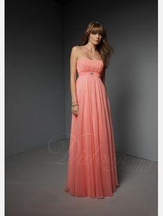 $86 Sleeveless Empire Sweetheart Floor-length Chiffon Bridesmaid Dress with Pleats and Broach