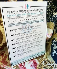 Printable Couple Questionaire // Unique Wedding Program Insert // Table Setting. $18.00, via Etsy.