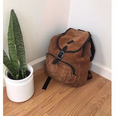 Vintage suede backpack Beautiful suede regular sized backpack. Genuine suede in vintage condition has some signs of wear.missing drawstring but can easily be replaced. Vintage Bags Backpacks