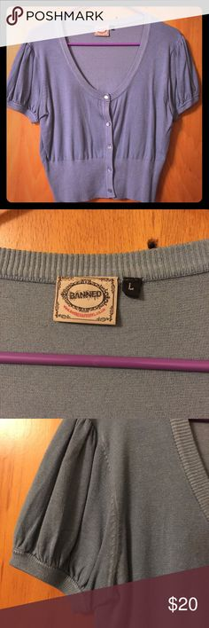 """Banned S/S Dusty Blue Crop Cardigan Size Large Banned UK Short sleeve crop cardigan in dusty blue. Modcloth """"Phone Tag Cardigan"""" Excellent used condition! Banned Sweaters Cardigans"""