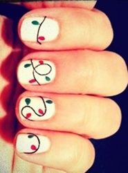 white nails with red and green lights christmas nail art - so cute