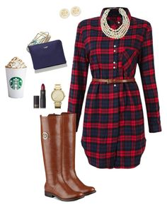 """All about plaid! Like this set so I can win the contest!!!"" by kinleymarieforbis on Polyvore featuring Tommy Hilfiger, Emily & Ashley, MICHAEL Michael Kors, Tory Burch, Kate Spade, Lipstick Queen, Fall, red, plaid and WardrobeStaples"