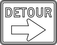 Free Images Of Detour Signs Detour Outline Clipart Etc