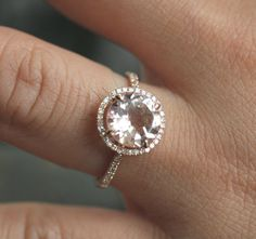 9mm 14k Rose Gold Morganite and Diamond Engagement or Wedding Ring. $849.00, via Etsy.