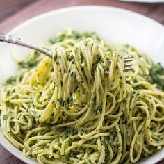 Spaghettini with Creamy Kale Sauce. Quick and filling - you won't believe this is health food.