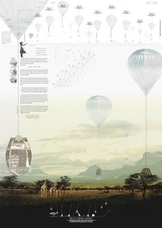 "Heat-Wind-Hang, project for the competition ""Internation Wildlife Center-Kruger Park, RSA"" Architecture Presentation Board, Presentation Layout, Architecture Board, Architecture Drawings, Architecture Portfolio, Landscape Architecture, Landscape Design, Architecture Design, Presentation Boards"