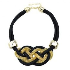 [N/L]-Black & Gold Corded Choker Necklace W/ Knot Design