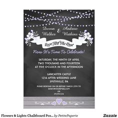 "Flowers & Lights Chalkboard Post Wedding Invite 4.5"" X 6.25"" Invitation Card"