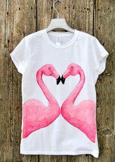 #Heart #Flamingo #shirt #woman #top tee by KatiaFabricStudio on Etsy