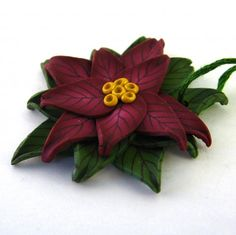 Mini Poinsettia Chrismas Ornament Red Polymer Clay