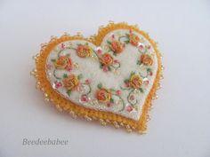 Heart Brooch / Felt Heart Pin by Beedeebabee on Etsy