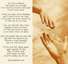 Afbeeldingsresultaat voor as i sit in heaven and watch you everyday poem author
