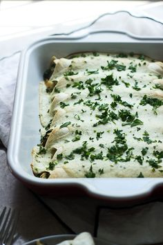 Spinach, Chicken and Cheese Enchiladas with Jalapeno Cream Cheese Sauce