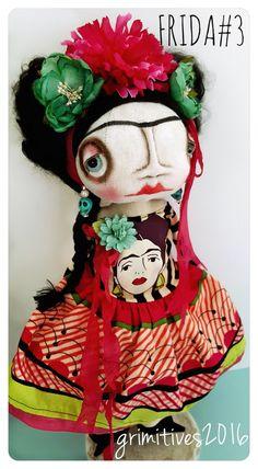 OOAK Original Frida Kahlo Art Doll 3 by GRIMITIVES on Etsy