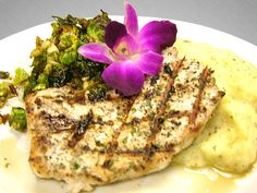 Grilled Swordfish Steak - Served with a Bed of Mashed Potatoes and Marinated Brussel Sprouts - see more featured Fresh Catch menu items at Reel Seafood Co. - www.reelseafoodco.com/menu/fresh-catch