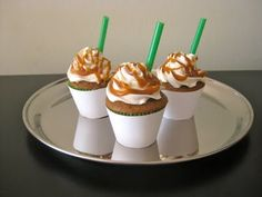 Carmel Frappucino Cupcakes.  Not only awesomely delicious, but how dang adoreable are these??
