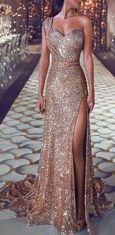 585d8462a0 Shoulder Long Side Split Sparkly Gorgeous Prom Dresses