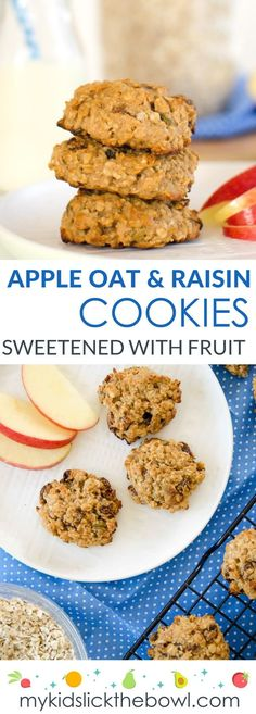 Apple oat and raisin cookies. Healthy snack for kids, 4 ingredients no added sugar, sweetened only with fruit