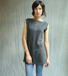 4a40aac0 Center Lines Tunic, cotton jersey, cap sleeve, modern style- made to order