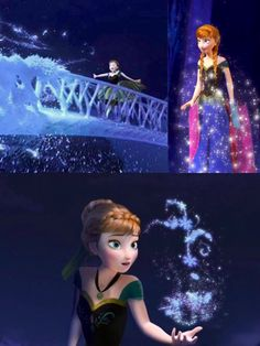 Anna building the staircase, in the middle of her dress transformation, and using her powers for snowflakes.